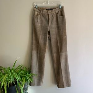 Two Tone Subtle Glitter Brown Gold Suede Pants